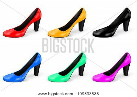 High heel. Collection of colored women shoes. Vector 3d illustration