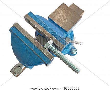 bolt clamped in a vise on a white background