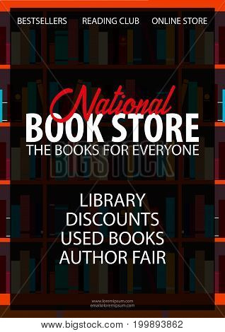 Poster National Book Store. Book Shelf Or Bookcase On The Background.