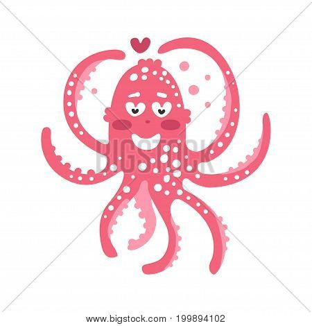 Cute cartoon pink enamored octopus character, funny ocean coral reef animal vector Illustration on a white background