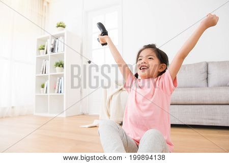 Little Daughter Children Holding Game Joystick
