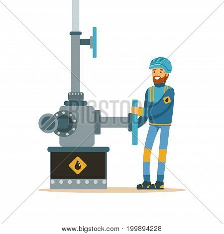 Oilman working on an oil pipeline, oil industry extraction and refinery production vector Illustration on a white background