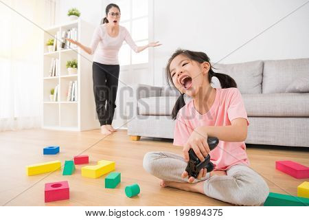 Cute Little Girl Children With A Lot Of Messy Toys