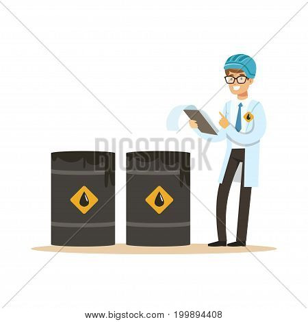 Engineer of oil industry controlling the process of oil production vector illustration on a white background
