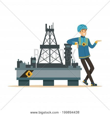 Oilman standing next to an oil rig drilling platform, oil industry extraction and refinery production vector Illustration on a white background