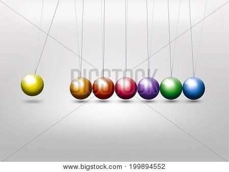 Newtons cradle - colorful balls - impulse concept