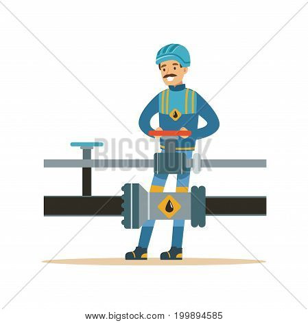 Smiling oilman working on an oil pipeline, transportation of oil and petrol vector illustration on a white background