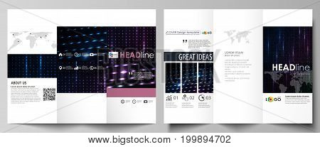 Tri-fold brochure business templates on both sides. Easy editable abstract vector layout in flat design. Abstract colorful neon dots, dotted technology background. Glowing particles, led light pattern, futuristic texture, digital vector design.