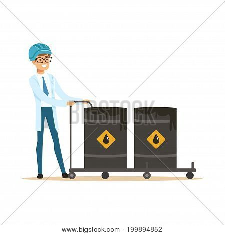 Oilman worker filling oil barrels, oil refinery production and transportation vector Illustration on a white background