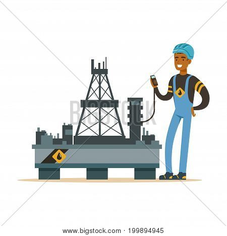 Oilman inspecting equipment on an oil rig drilling platform, oil industry extraction and refinery production vector Illustration on a white background