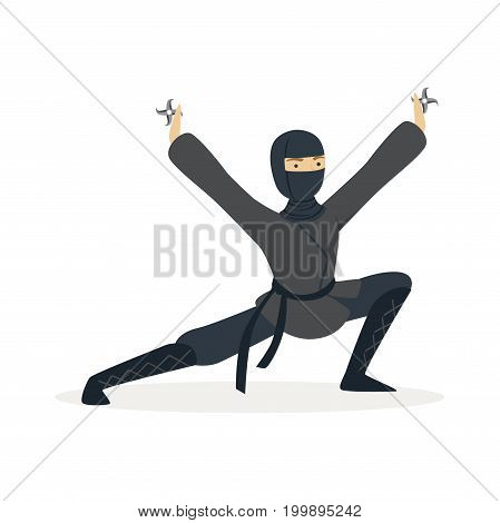 Ninja assassin character in a full black costume standing in a combat pose and holding shurikens in his hands, Japanese martial art vector Illustration on a white background