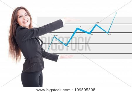 Happy Business Woman Holding Financial Increasing Chart