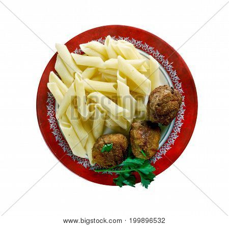 Veal Polpette and pasta.Traditional Italian meatballs close up  traditional meal
