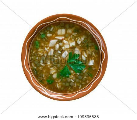 Ashe Berenj - Rice Persian soup close up  traditional meal