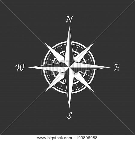 White compass icon on a black background. Marine navigation. Sign for adventure map. Vector illustration