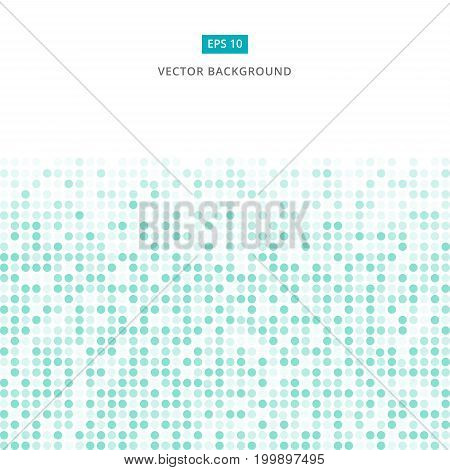 Abstract stripe green and white random dots digital technology halftone background vector