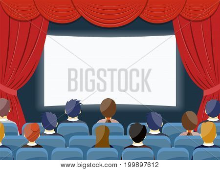 cinema watch movie theater empty screen template mockup concept. Group people sitting before blank. Vector illustration in flat style