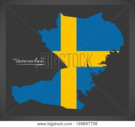 Vasternorrland Map Of Sweden With Swedish National Flag Illustration