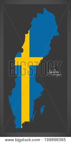 Sweden Map With Swedish National Flag Illustration