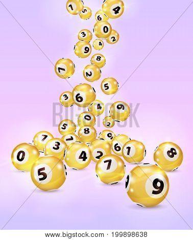 Illustration Gold Bingo balls fall randomly on pink background. Lottery Number Balls. Golden balls. Bingo ball. Bingo golden balls with numbers.