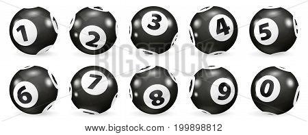 Set of black and white Lottery balls. Bingo balls set. Bingo balls with numbers. Lottery Number Balls. Realistic Illustration. Lotto concept.