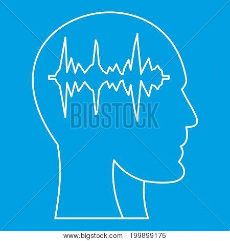 Equalizer inside human head icon blue outline style isolated vector illustration. Thin line sign