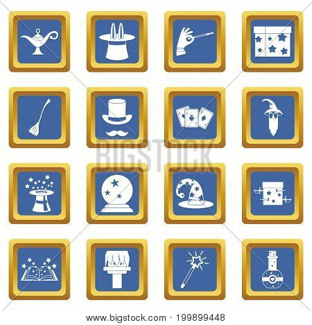 Magic icons set in blue color isolated vector illustration for web and any design
