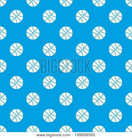 Basketball ball pattern repeat seamless in blue color for any design. Vector geometric illustration