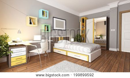 teen young bedroom interior design idea 3D rendering