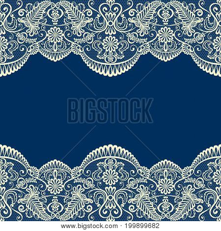 Wedding card template with beige lace border on dark blue background