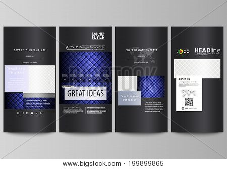 Flyers set, modern banners. Business templates. Cover design template, easy editable abstract vector layouts. Shiny fabric, rippled texture, white and blue color silk, colorful vintage style background.