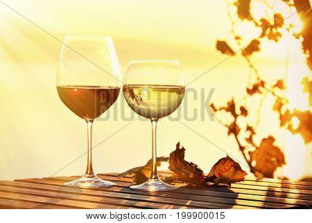 Wine glasses. Lavaux region at Geneva lake, Switzerland