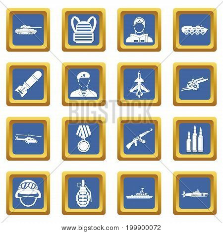 War icons set in blue color isolated vector illustration for web and any design