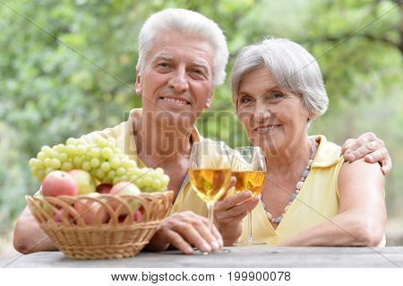 Portrait of a smiling elderly couple drinking wine