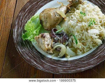 Trini Stew Trinidad style Chicken studio close up meal