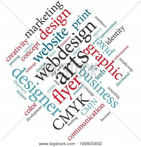 Graphic designer or marketing agency word cloud. Design industry.