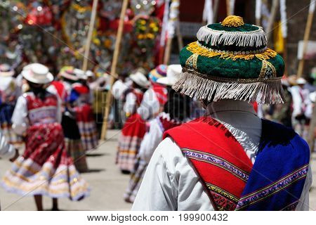 Peru Dancers in traditional dresses on the festival Wititi (UNESCO) in the Chivay town in the Colca canyon