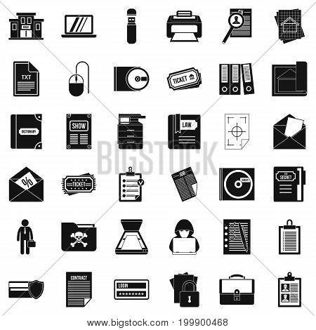 Document icons set. Simple style of 36 document vector icons for web isolated on white background