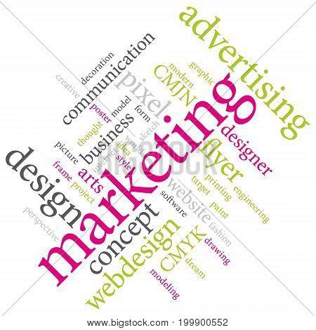 Graphic designer or marketing agency word cloud. Vivid colors.