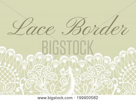 Template of card with white lace border on green background