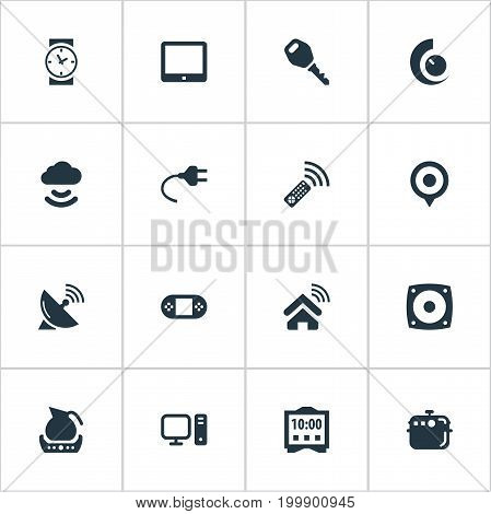 Elements Internet Of Things, Smart House, Teapot And Other Synonyms Things, Lock And Internet.  Vector Illustration Set Of Simple Device Icons.