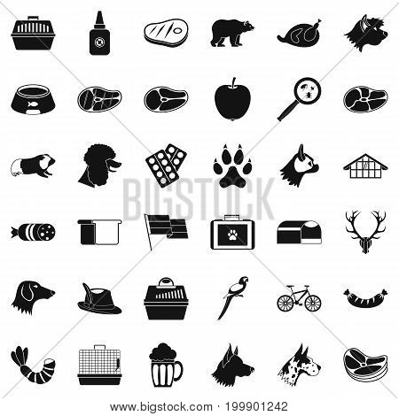 Dog icons set. Simple style of 36 dog vector icons for web isolated on white background