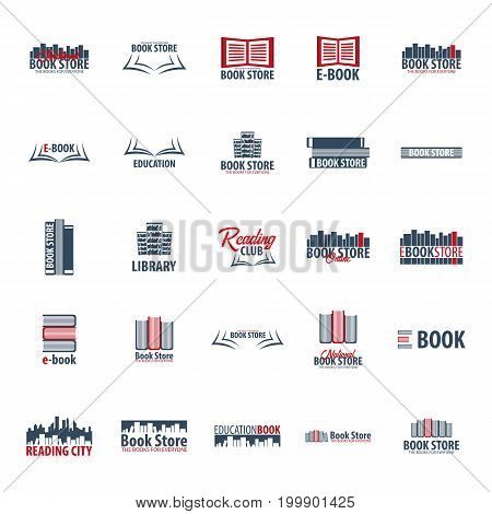 Set Of Book Store Logo. Education And Book Emblem. Vector Illustration.
