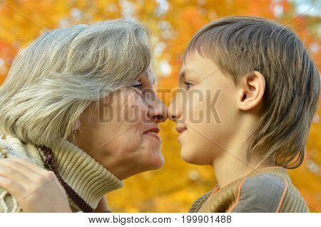 Portrait of a grandmother and grandson posing in park