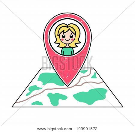 Textured red geotag icon with blonde girl portrait pointing at a map. GPS navigation concept. Vector illustration for mobile devicesmartphone appwebsite. Friend's location. Woman character pictogram