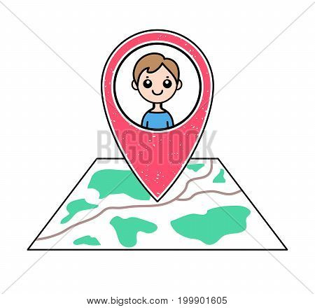 Textured red geotag icon with guy's portrait pointing at a map. GPS navigation concept. Vector illustration for mobile device smartphone app website. Boy friend's location. Man character pictogram.