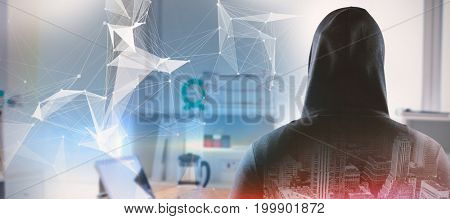 Rear view of spy in hoodie against digitally generated image of abstract pattern on screen