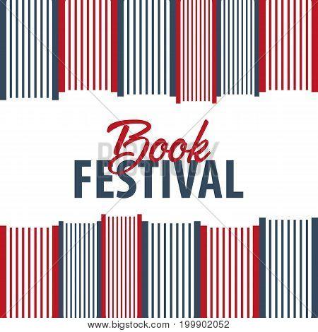 Banner Book Festival. Stack Of Books. Vector Illustration.