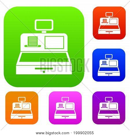 Cash register with cash drawer set icon in different colors isolated vector illustration. Premium collection