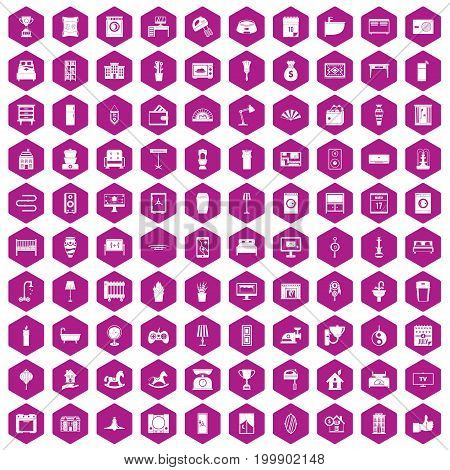 100 interior icons set in violet hexagon isolated vector illustration